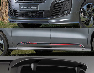 Body kit for vehicles with long wheelbase and tailgate with opening rear window