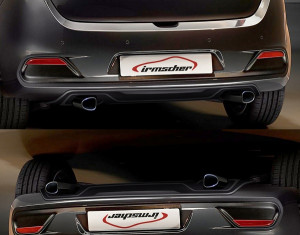 Rear diffusor for exhaust left / right